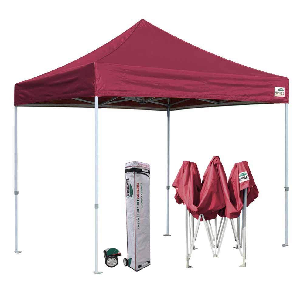 9 Eurmax 10x10 Ez Pop Up Tailgate Canopy Tent With Heavy Duty Wheeled Bag