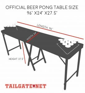 official beer pong table size